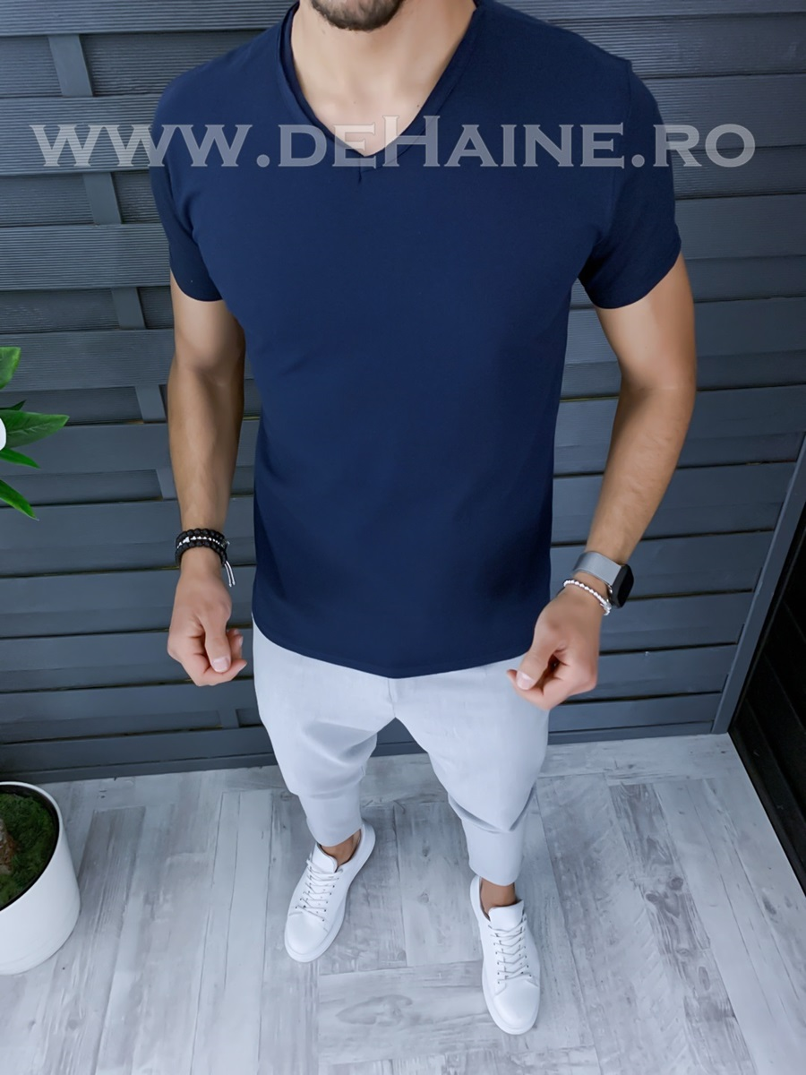 Tricou barbati bleumarin slim fit ZR A9949 X
