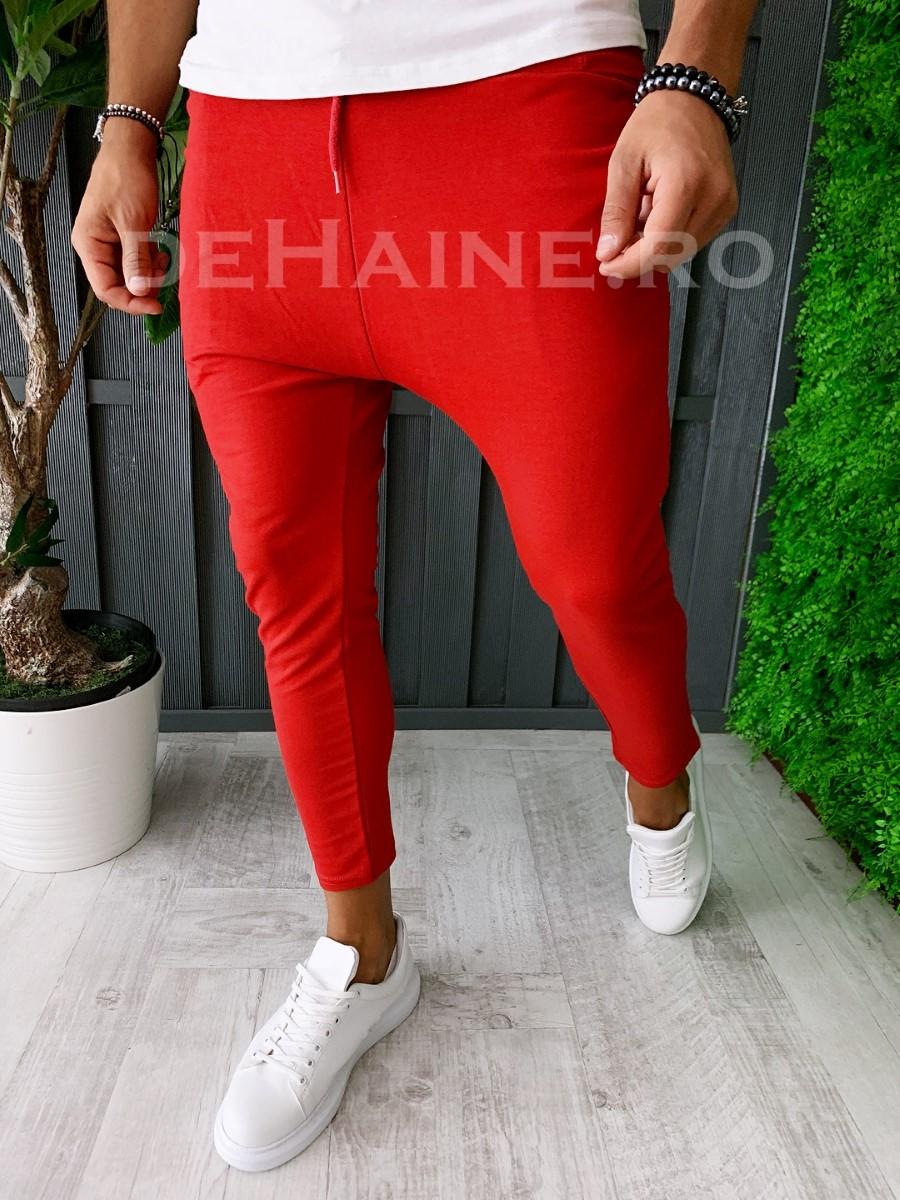 Pantaloni de trening conici rosii A6173 3-4