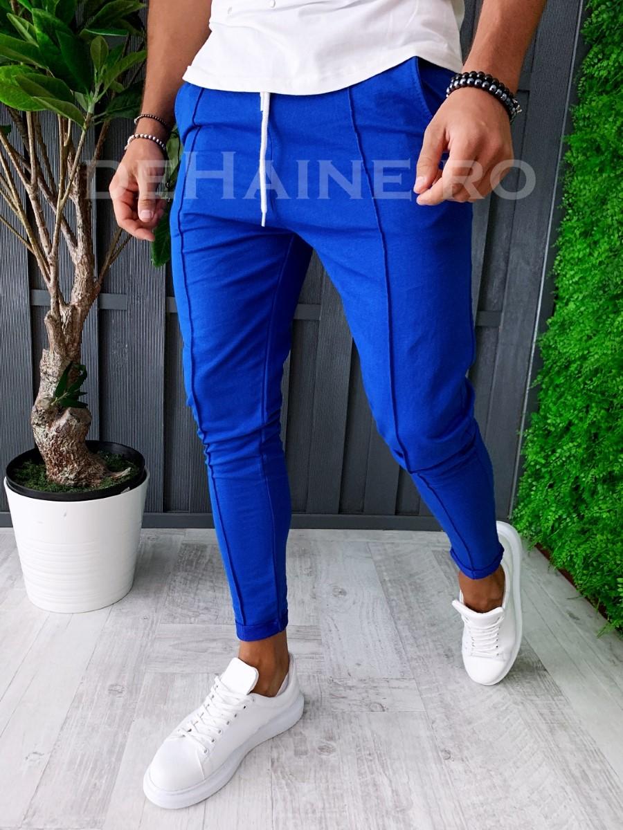 Pantaloni de trening conici albastrii A6144 B6-2