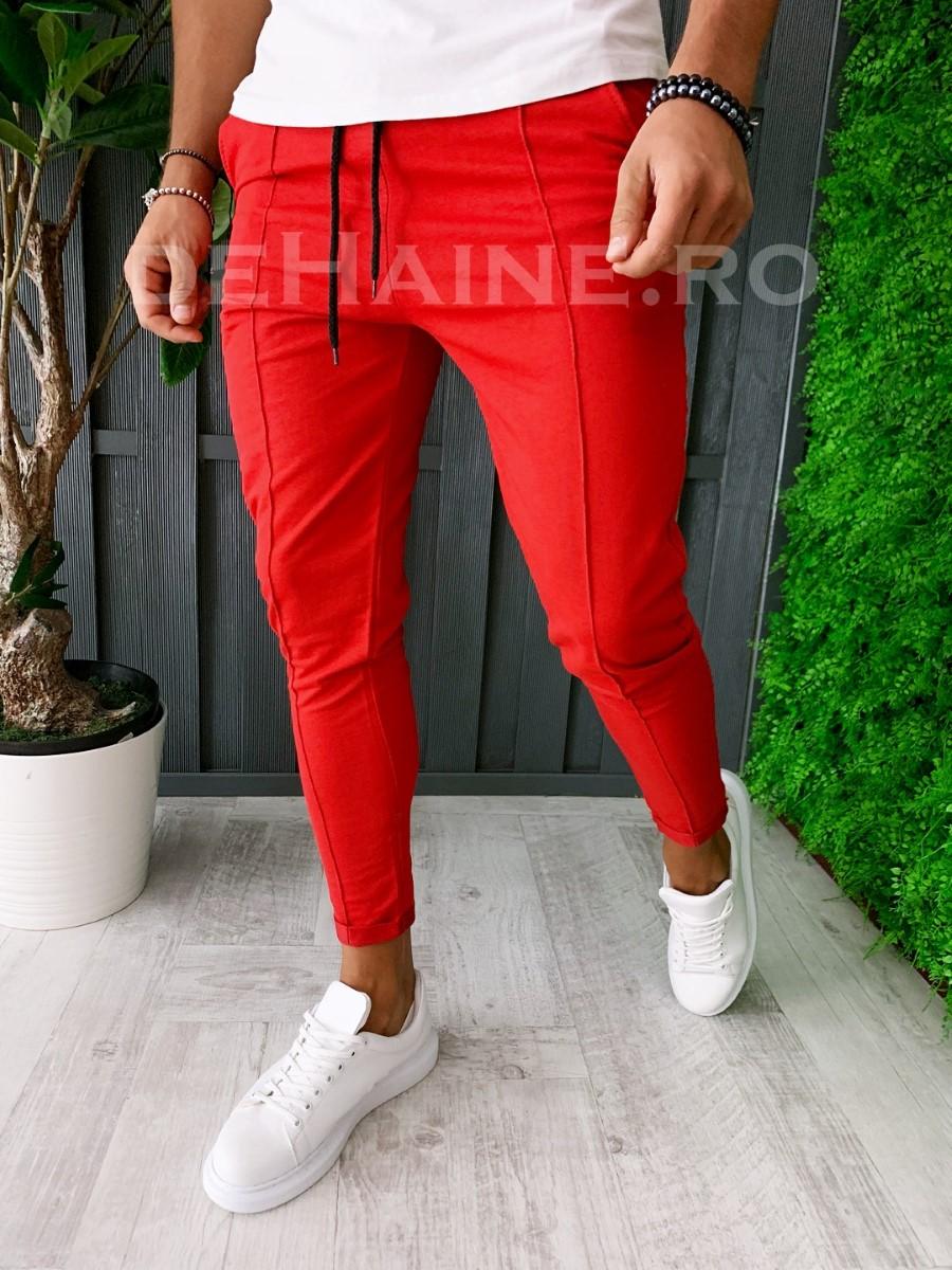 Pantaloni de trening conici rosii A6145 J3-2