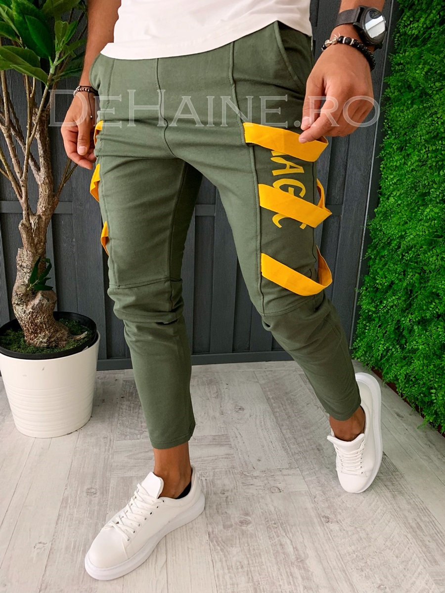 Pantaloni de trening conici kaki A5922 J4-2