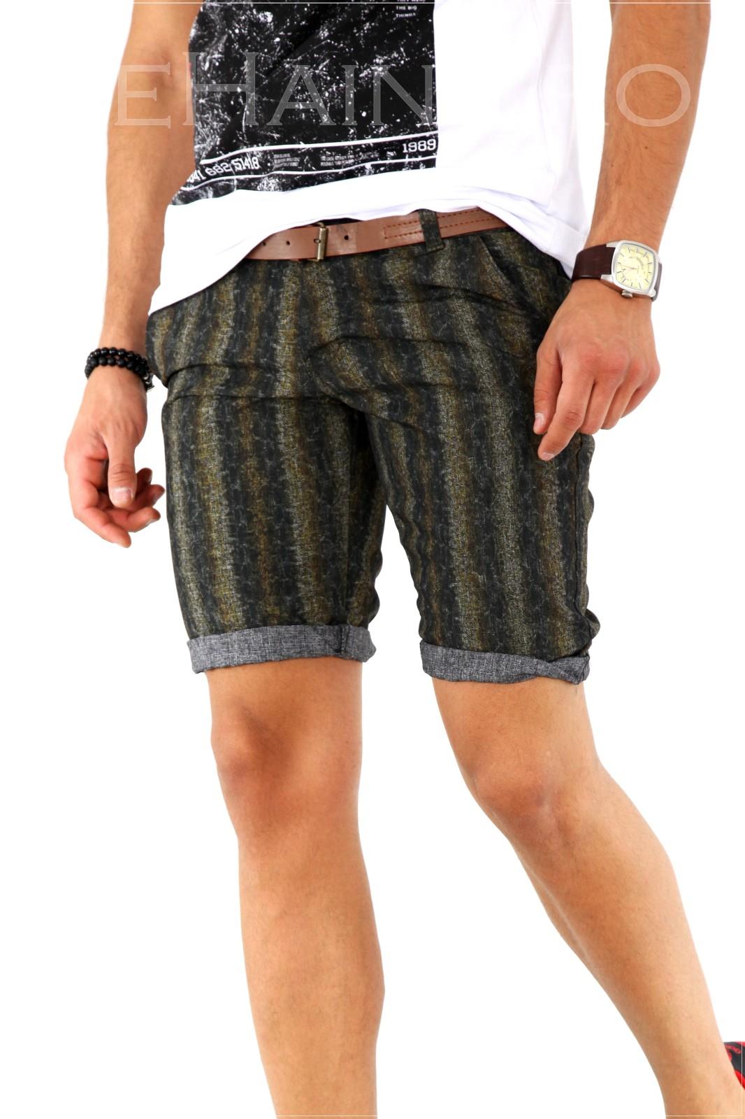 Pantaloni barbati scurti cu imprimeu + CUREA CADOU A1801 X3-3