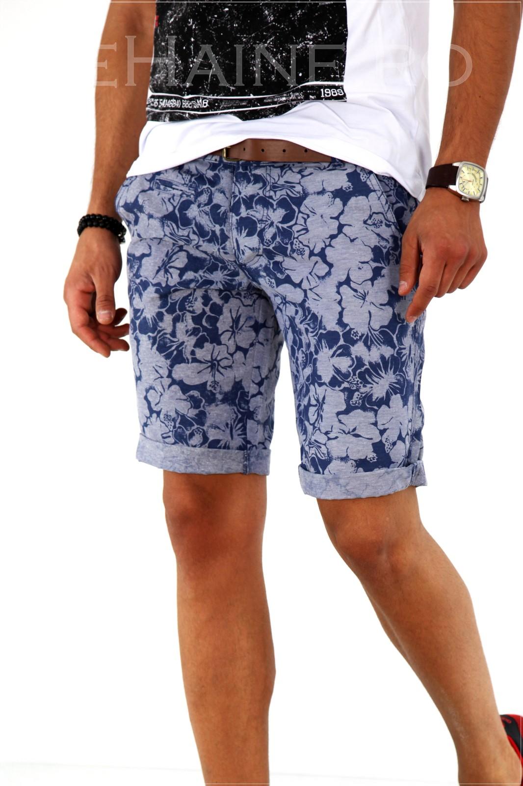 Pantaloni barbati scurti cu imprimeu + CUREA CADOU A1802 X18-5