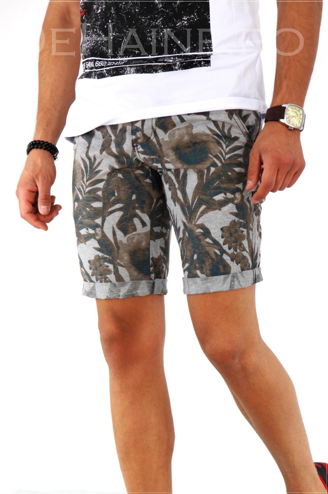 Pantaloni barbati scurti cu imprimeu + CUREA CADOU A1803 X14-3