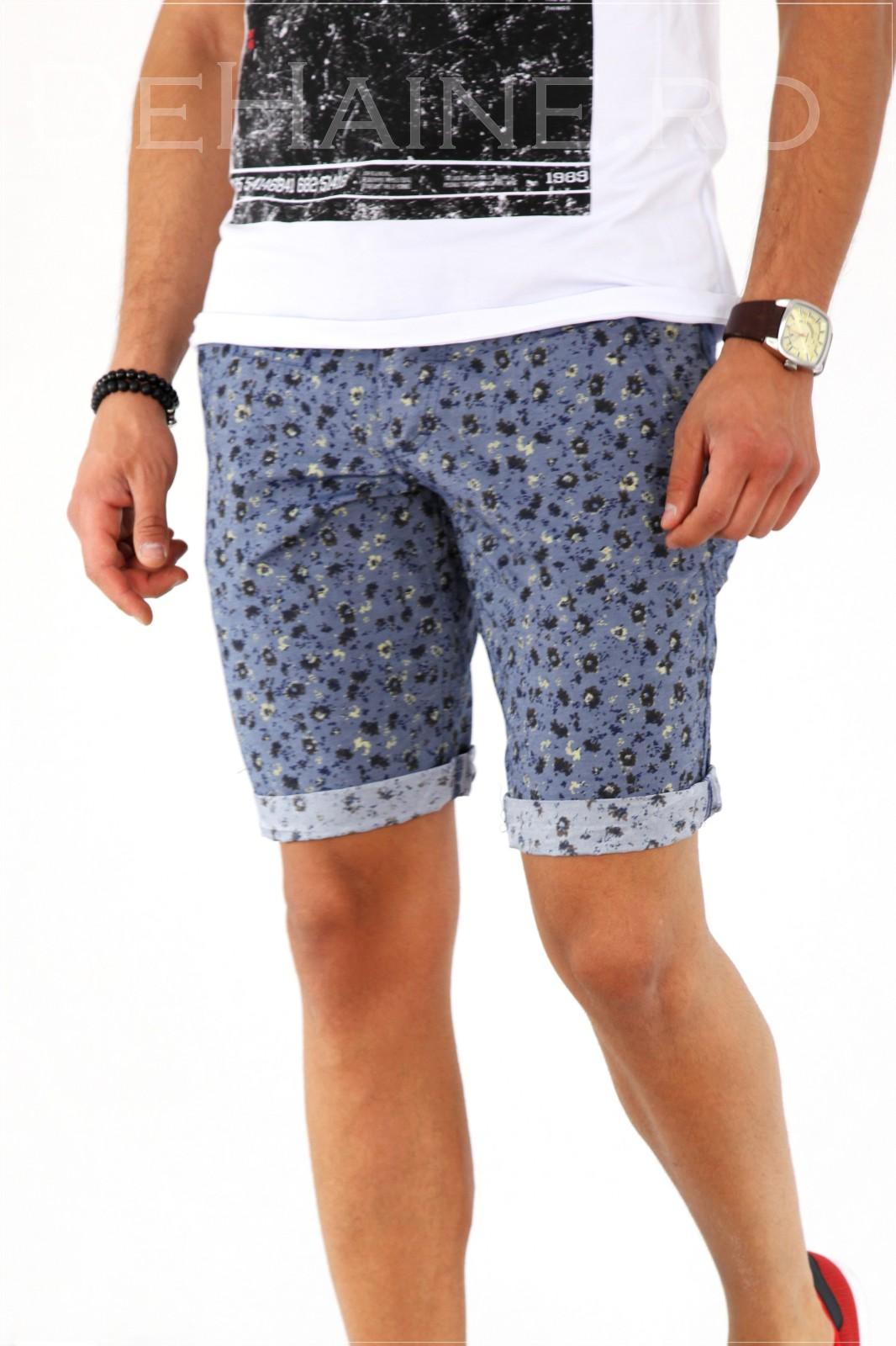 Pantaloni barbati scurti cu imprimeu + CUREA CADOU A1804 X18-5