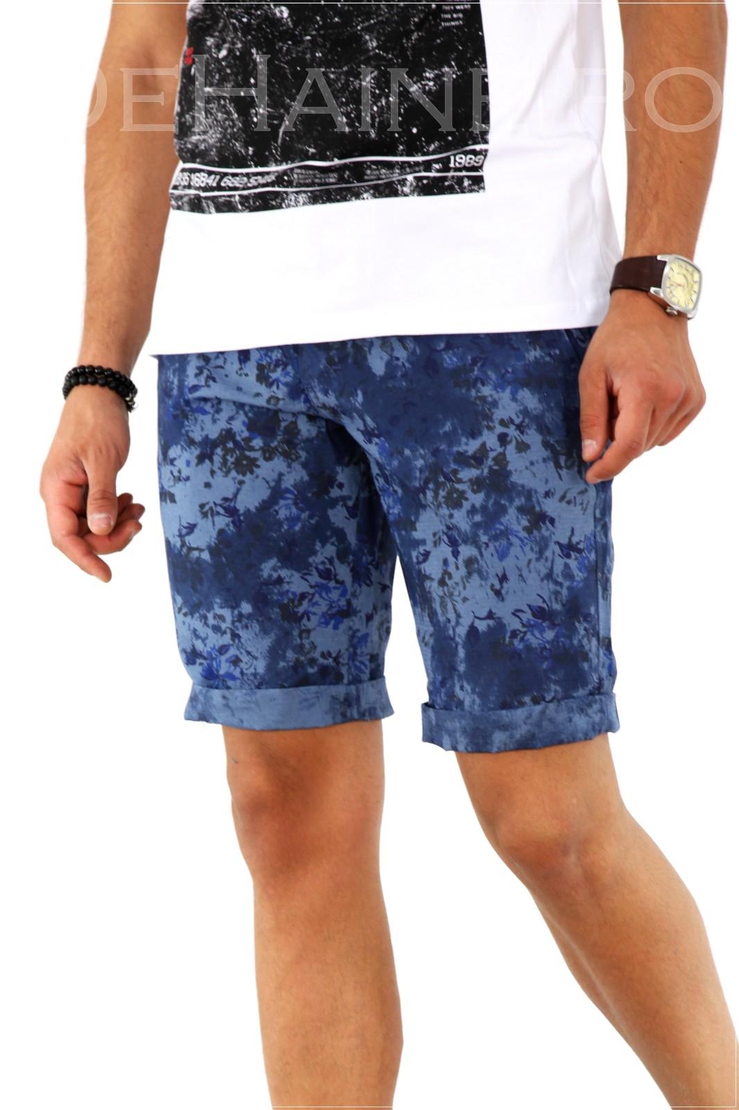 Pantaloni barbati scurti cu imprimeu + CUREA CADOU A1806 X6-4