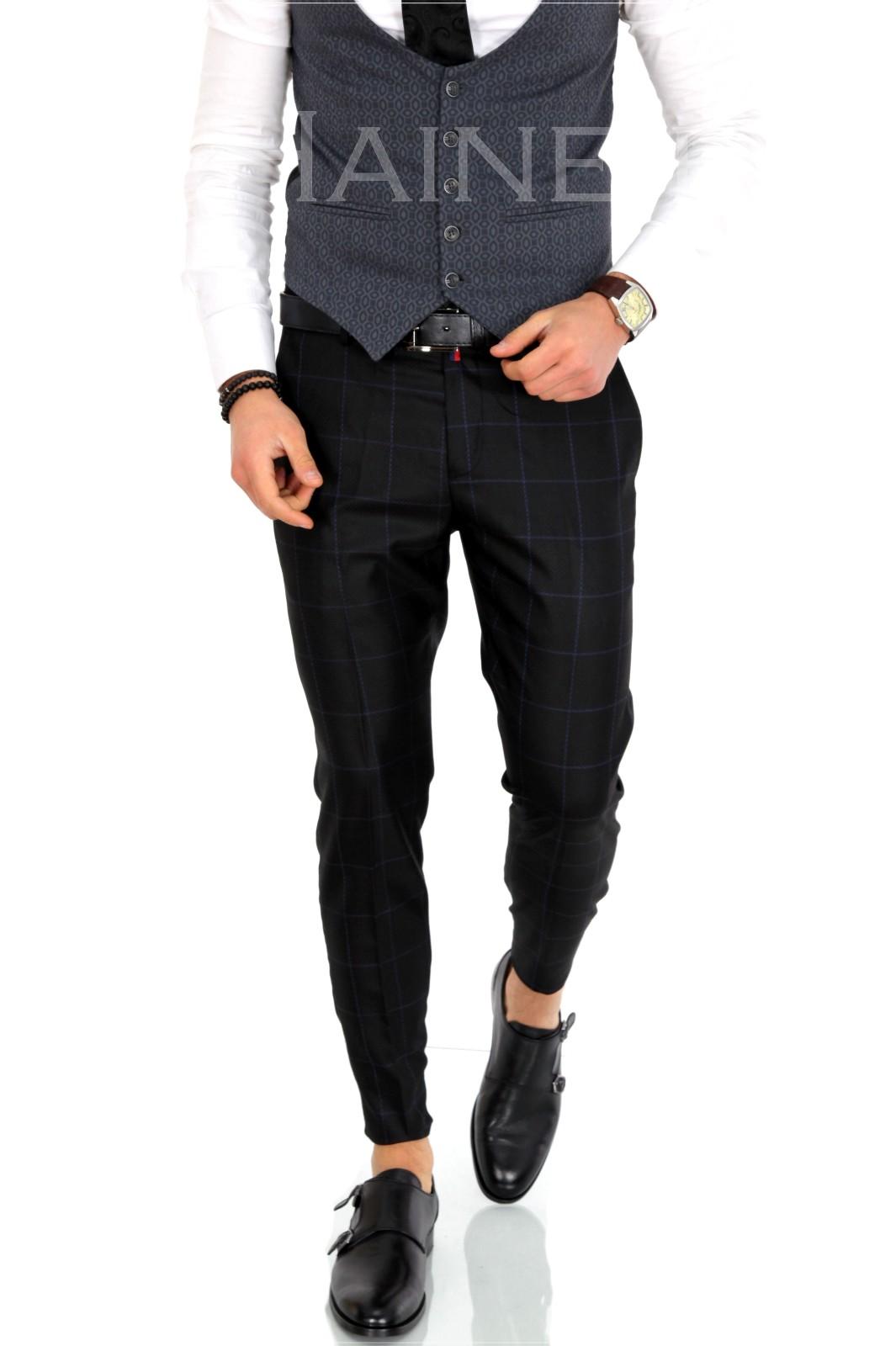 Pantaloni barbati eleganti carouri ZR 9879