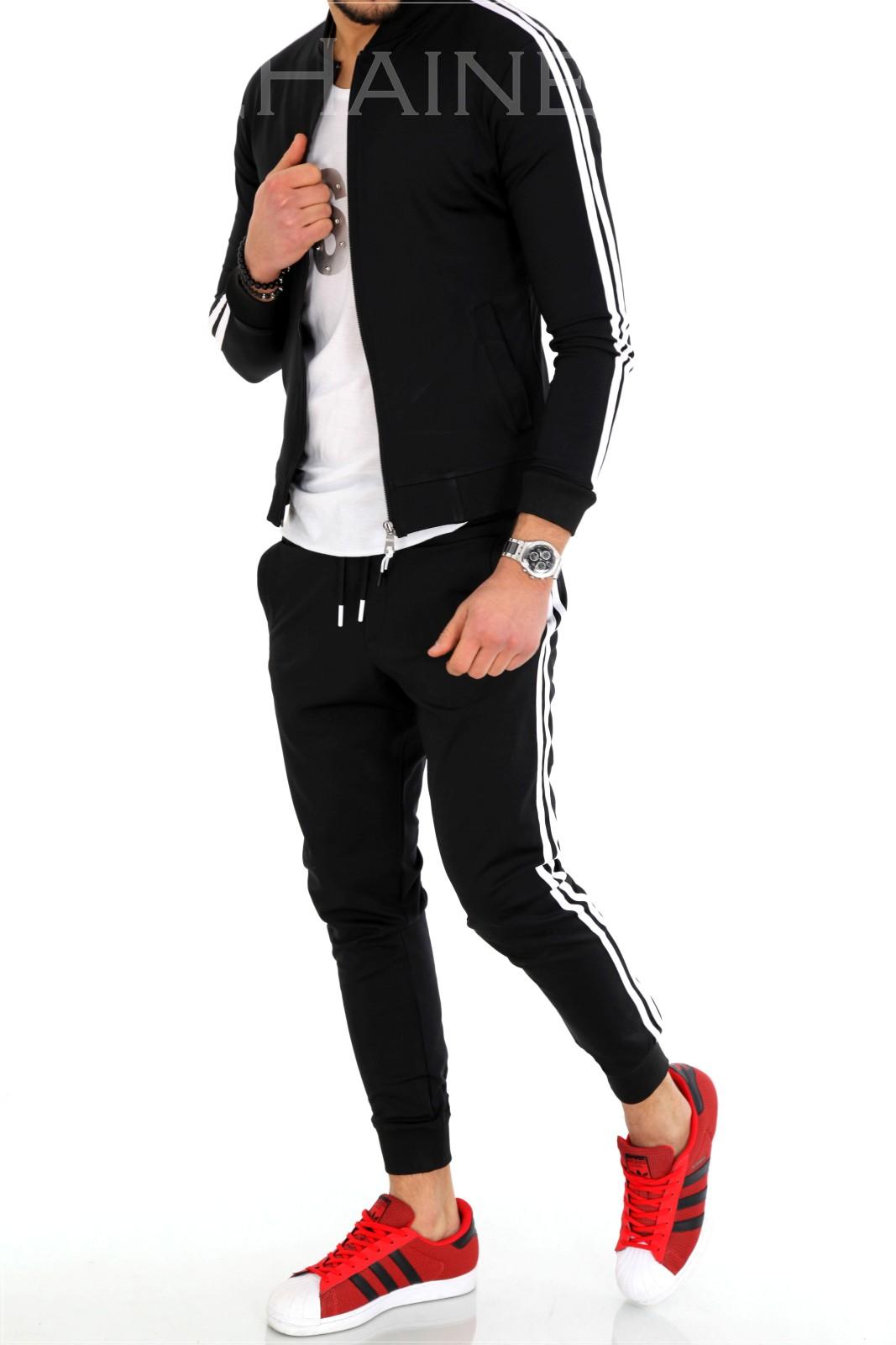 Trening barbati negru pantaloni + hanorac ZR 9819 J3-4