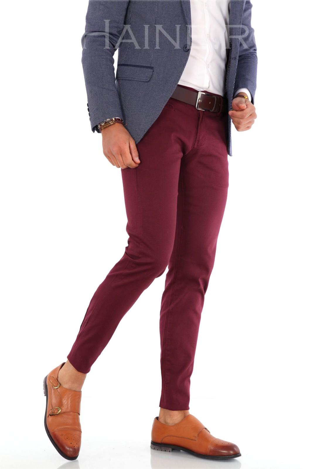 Pantaloni barbati eleganti grena ZR 9289