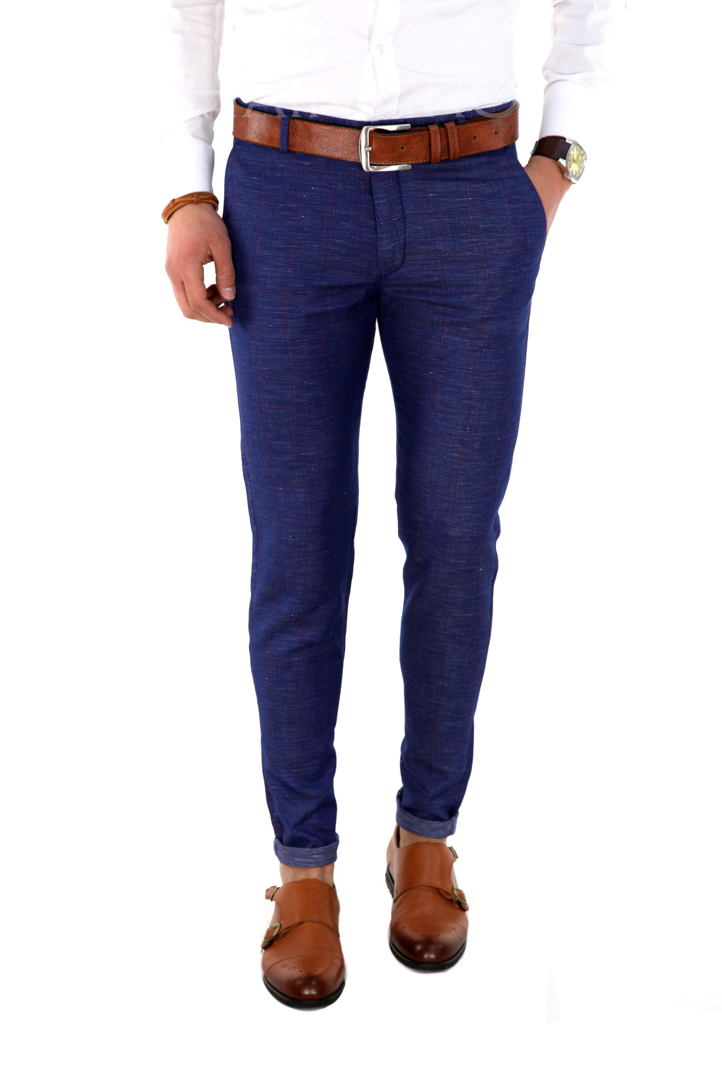 Pantaloni barbati eleganti carouri ZR 7839 J4-1